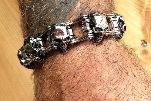 BC5 - Skull and Bike Chain Bracelet