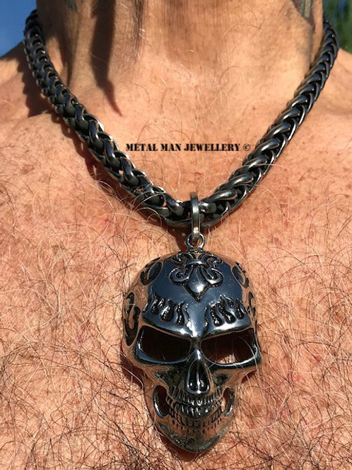 SWW - Large skull on 10mm Wheat Weave chain