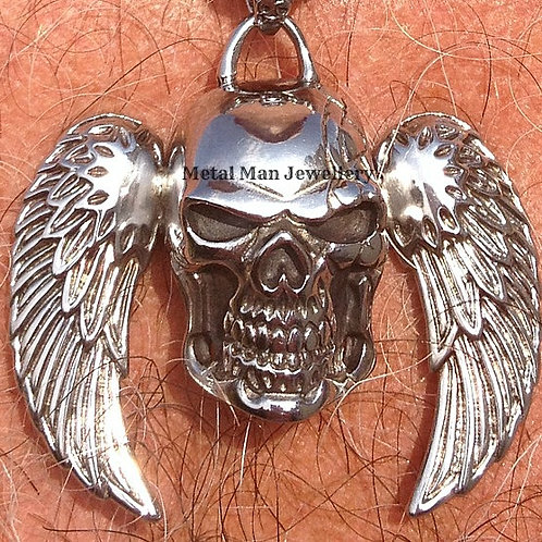 Skull & Angel Wing Pendant