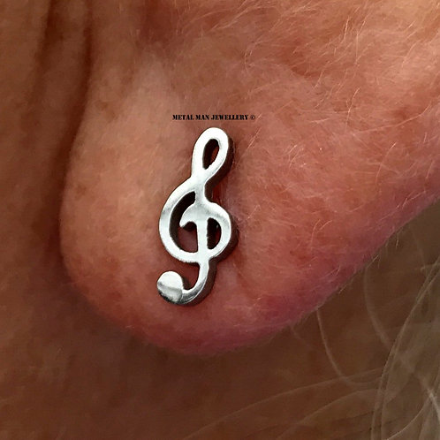 EM - Treble Clef post earrings