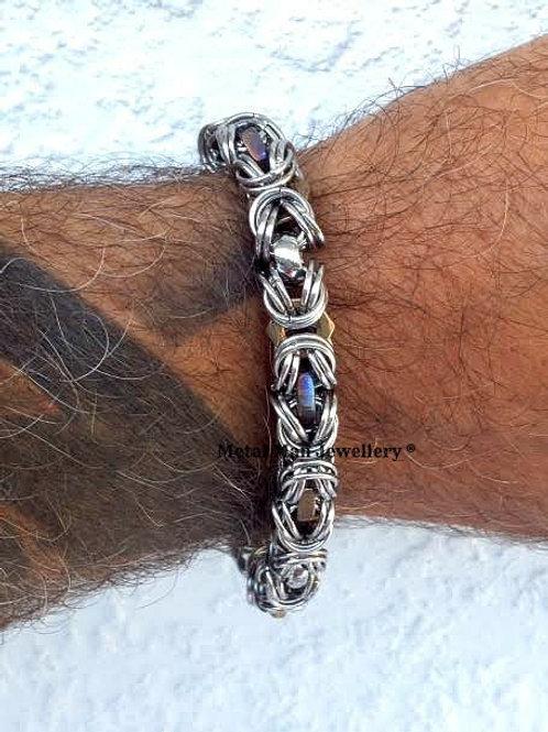 HTBY - Two tone M6 half nut Byzantine bracelet