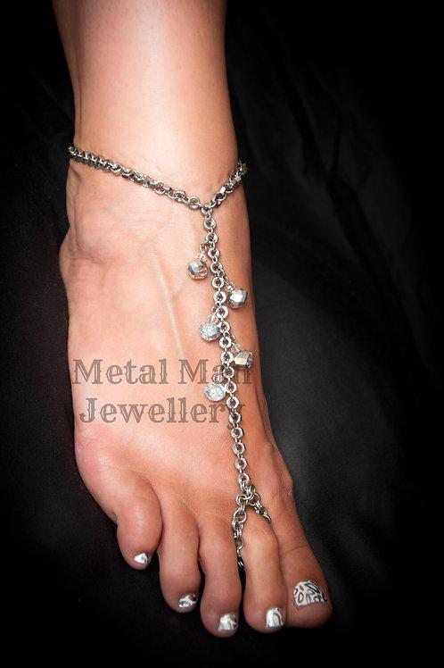 FA2 - Glass Bead & Hex Nut Foot Jewelry