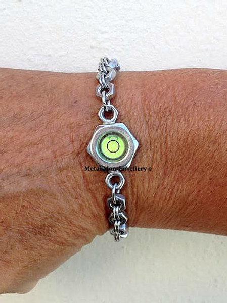LR- Unisex round level on M4 hex nut bracelet