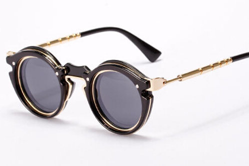 SZ4 Steampunk style sunglasses black/silver frame