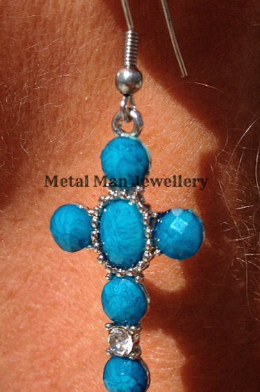 EA1 - Blue cross earrings