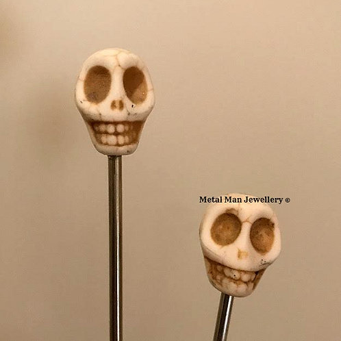 HCS2 - White Skull Hair Chopsticks