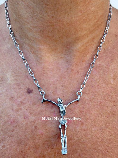 SK4 - Unisex skeleton pendant on fine chain