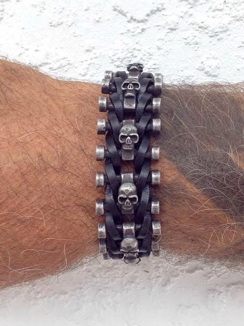 SKL - Skull on adjustable leather bracelet