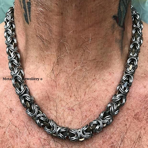 HTBY3 - Two tone M6 Half nut Byzantine chainmaille necklace