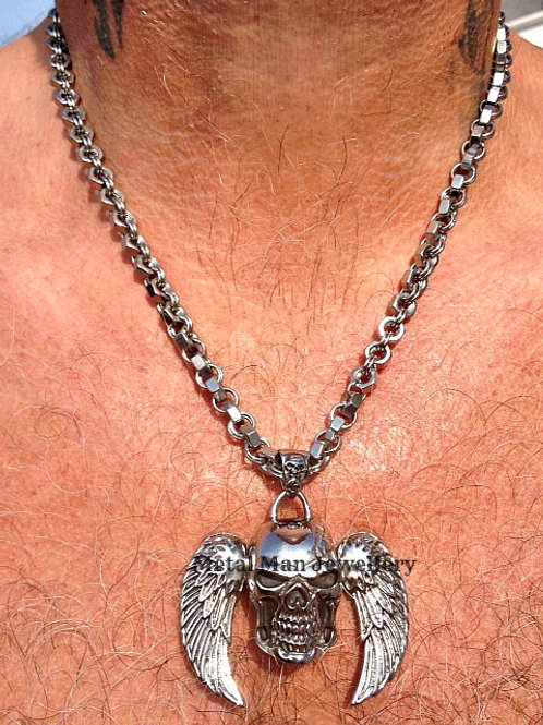 SW - Skull and Angel Wing Necklace