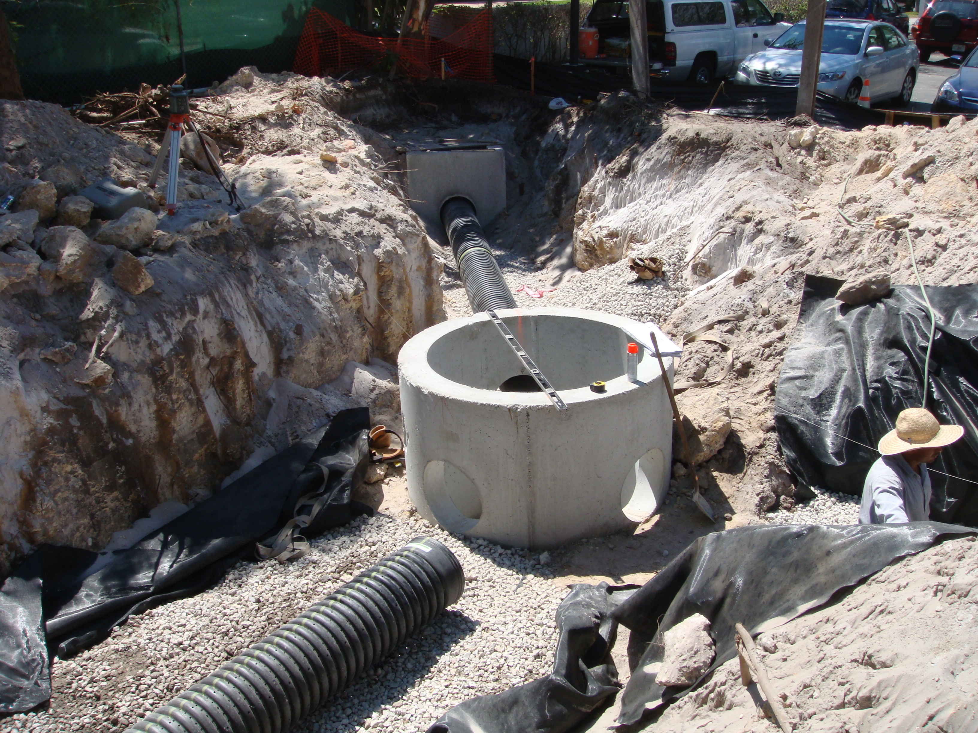 Catch basin, HDPE pipe, drainage