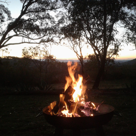 Warm up by the fire pit in winter