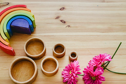 Group of round and empty wooden bowls an