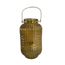 GLASS GOLD LANTER (25cm x 13cm)