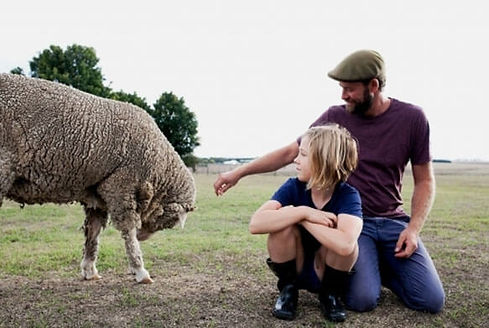 Father and son on farm