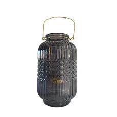 LANTERN - BLACK GLASS (25cm x 13cm)