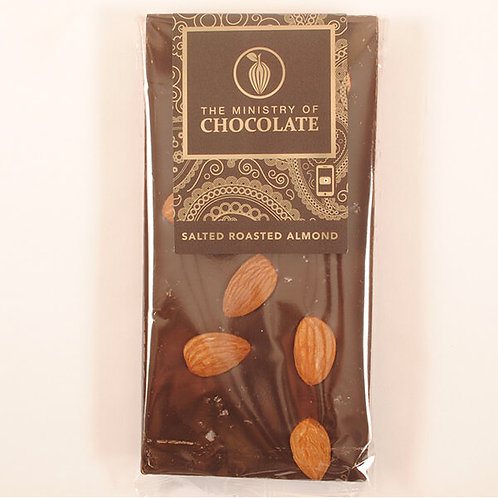 DARK SALTED ALMOND 100g CHOCOLATE BAR