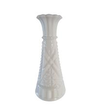 WHITE GLASS VASE PATTERN 6 (15cm)
