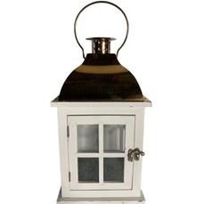 LANTERN WHITE & BRASS WINDOW (36cm x 17cm)