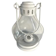 WHITE & GLASS TEALIGHT LANTERN (18cm x 13cm)