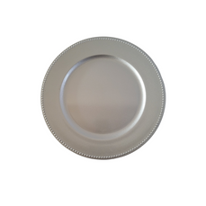 PLASTIC SILVER CHARGER PLATE (33cm)