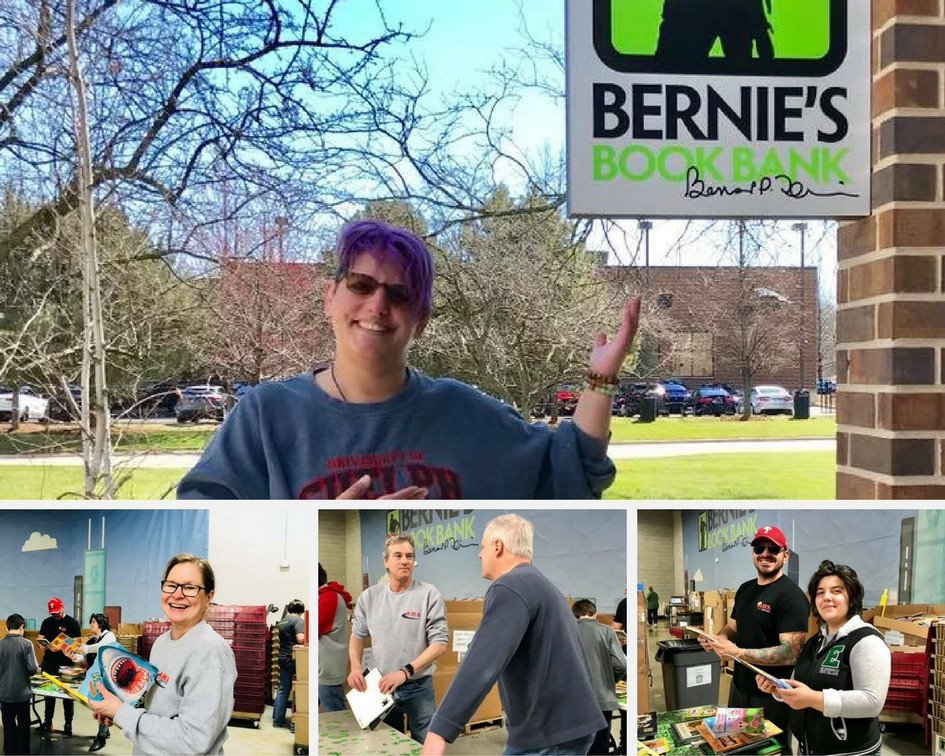 AMS Staff at Bernie's Book Bank on April 28, 2018.