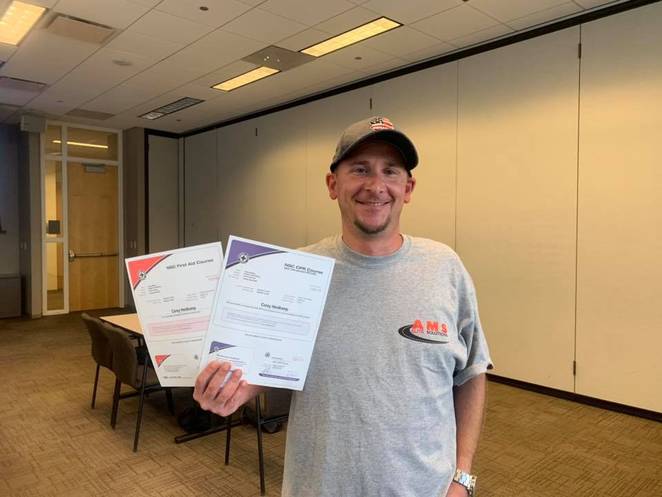 Corey Heidkamp holding NSC CPR and First Aid Course Certifications