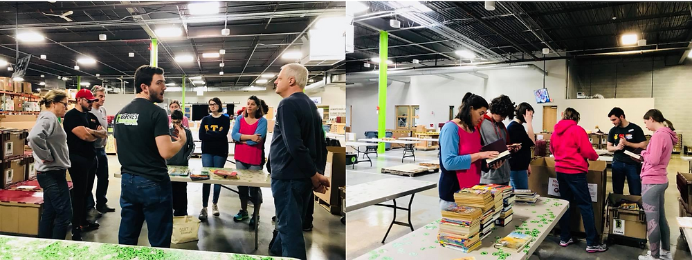 Bernie's staff introducing Volunteers to the book sorting station.