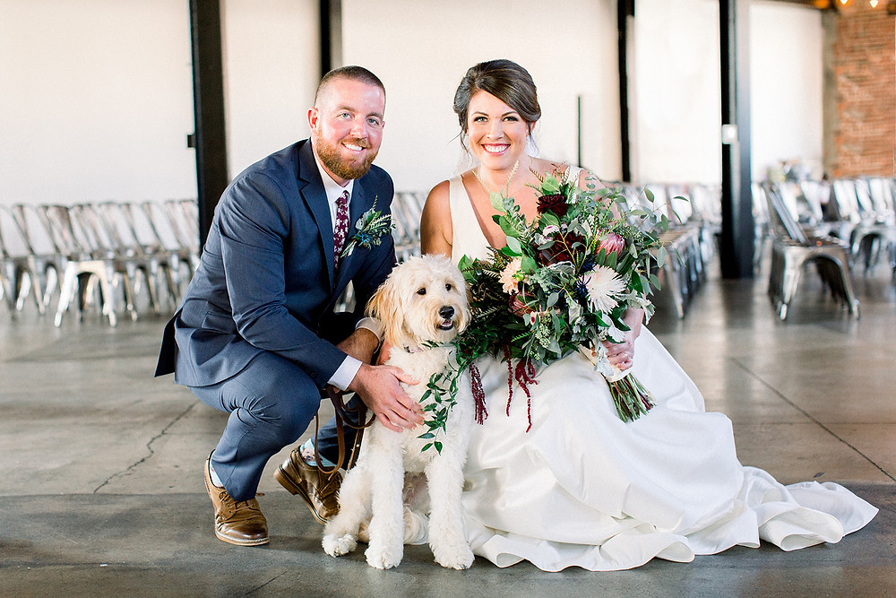 Bride and Groom with Family Pet