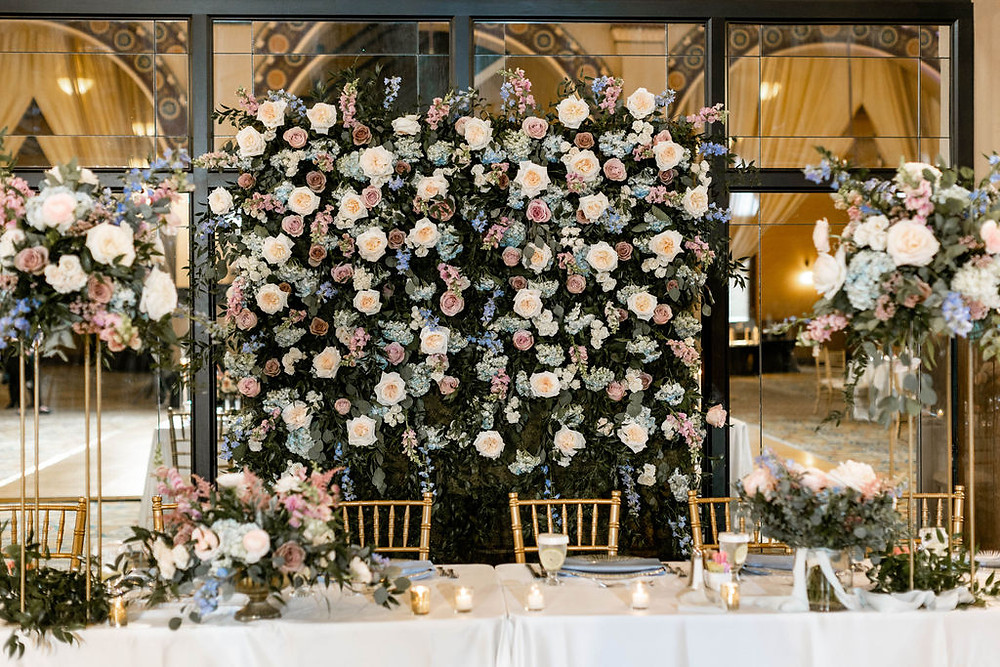 Blush and Cloudy Blue Wedding Flowers