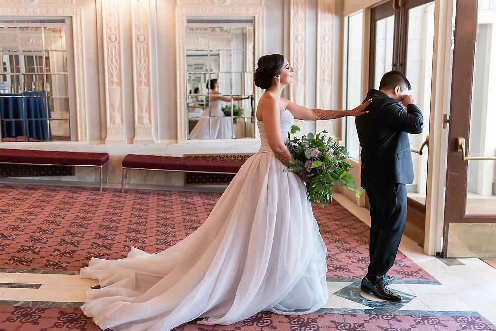 Bride Tap Groom on Shoulder First Look