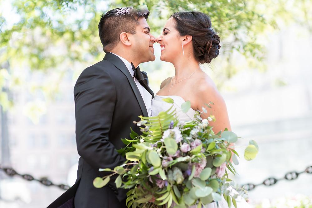 Joyful Bride and Groom