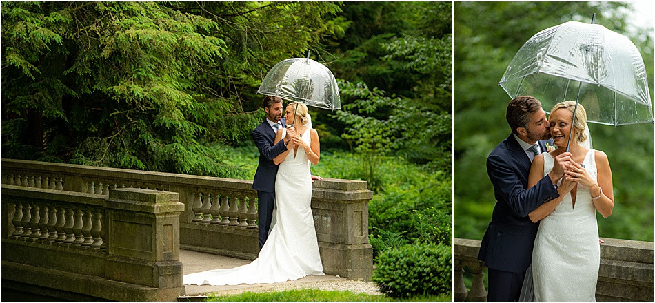 Bride and Groom on Rainy Day