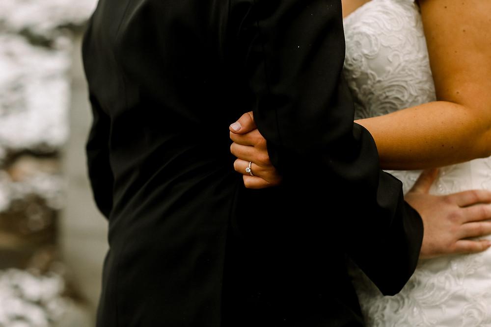 Bride and Groom Snuggle