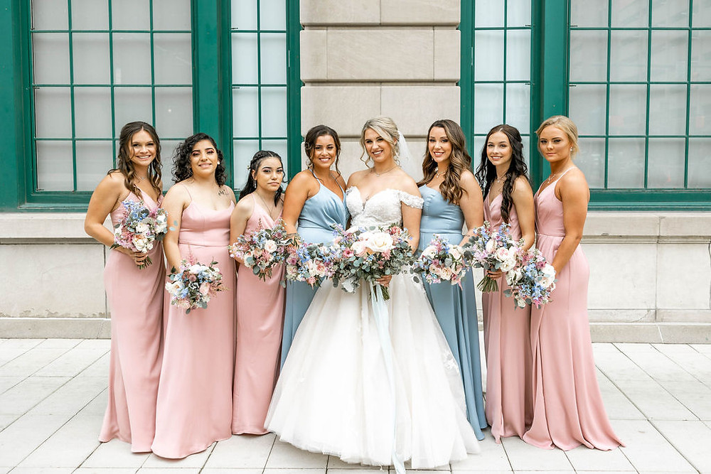 Blue and Pinks Bridesmaid Dresses