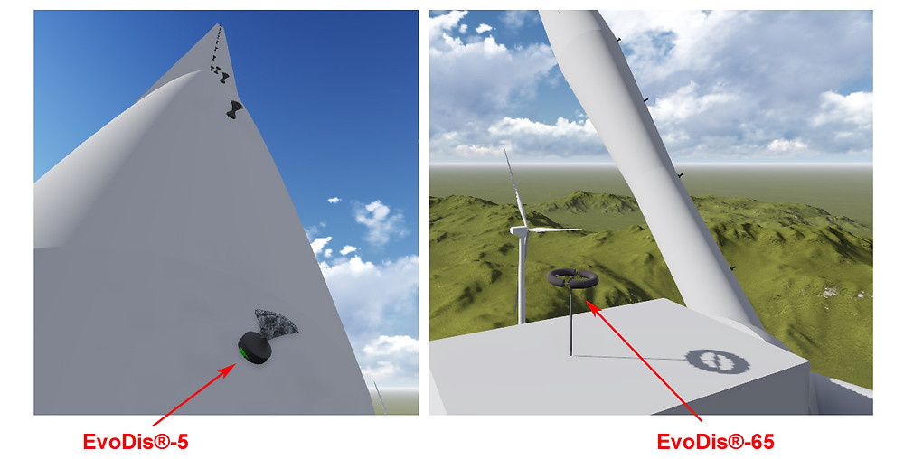Lightning protection for wind turbines by EvoDis System