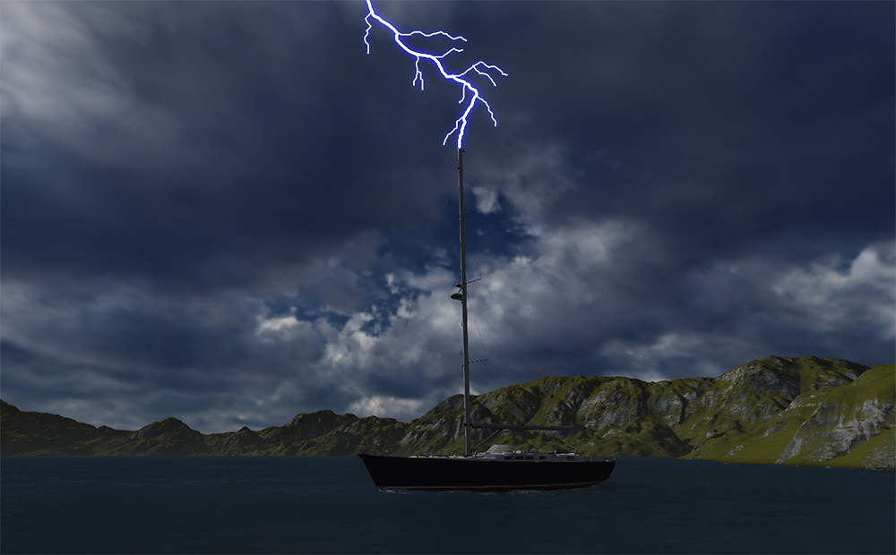 Lightning strike on boat