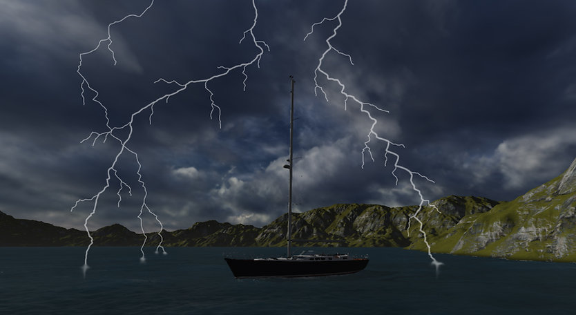 Lightning protection for boats, sailbots and yacths