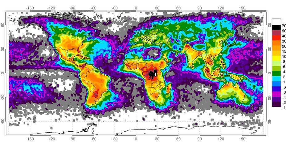 Global Lightning Strike Map
