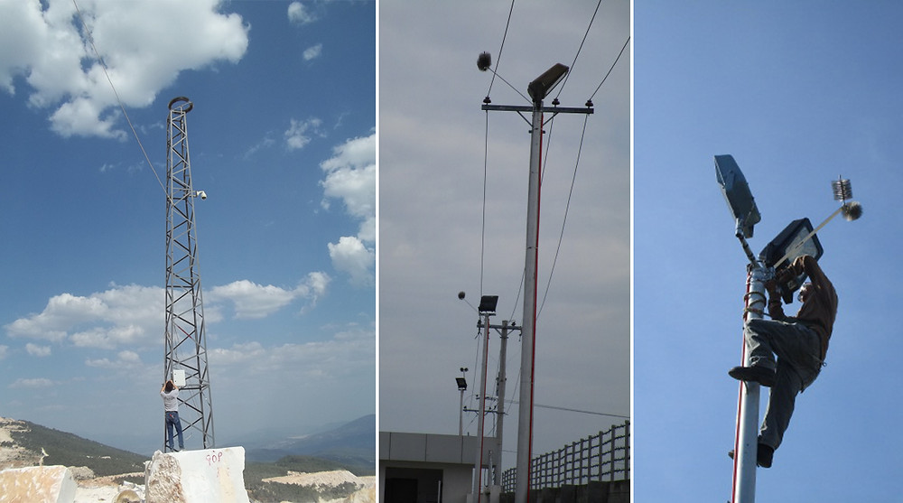 Lightning protection for security camera poles