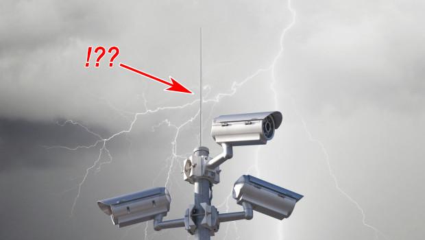 Lightning arrester military camera