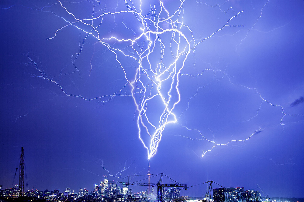 lightning hit telecom tower