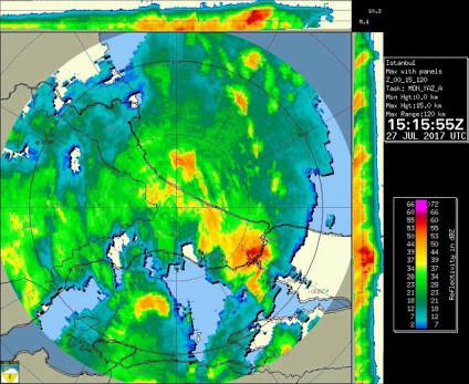 27 Temmuz Istanbul Meteoroloji Radar Görüntüsü