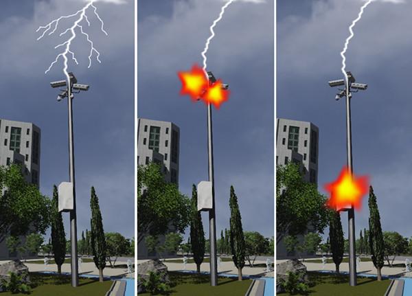 Lightning strike hit cameras