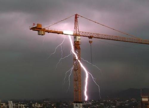 Lightning Strikes Tower Crane