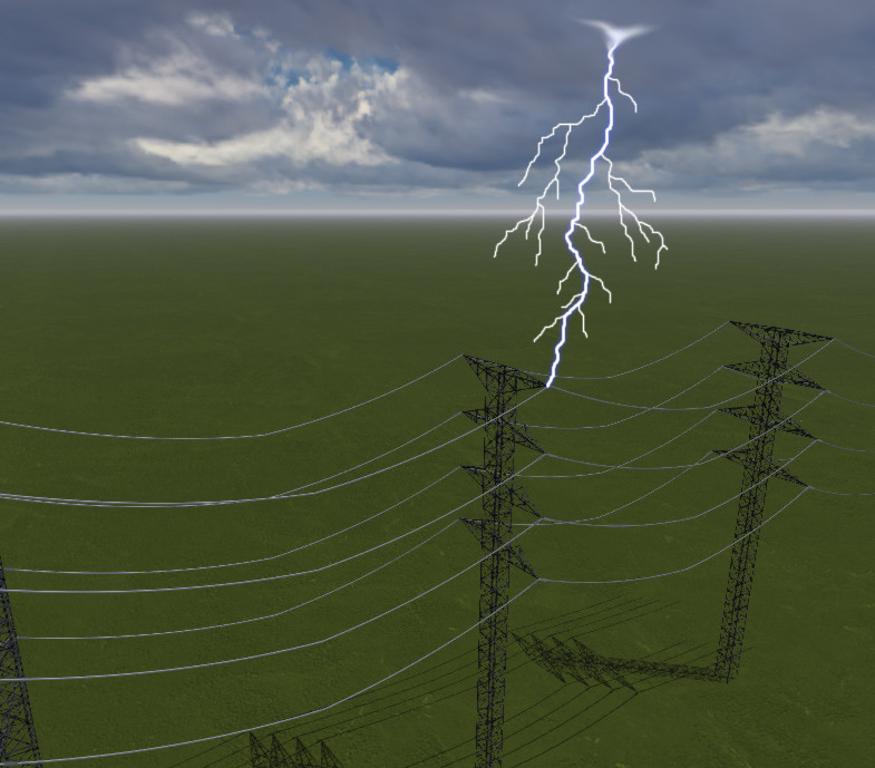 Lightning hits power transmission tower