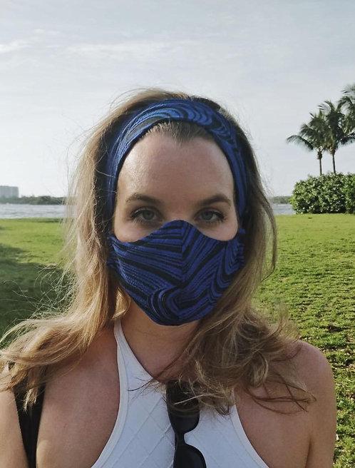 Zebra fashion mask and headband set
