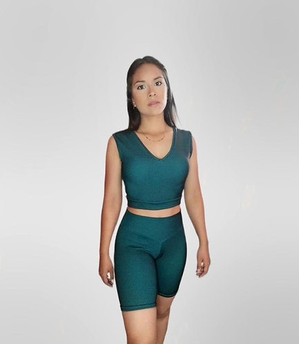 Textured Web Top-Biker Shorts Set