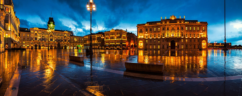 Unity of Italy Square in Trieste, Italy at dusk