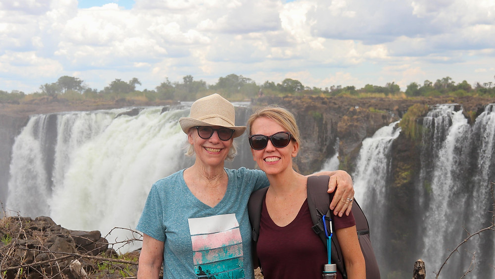 Anne and Angela at Victoria Falls November 2019